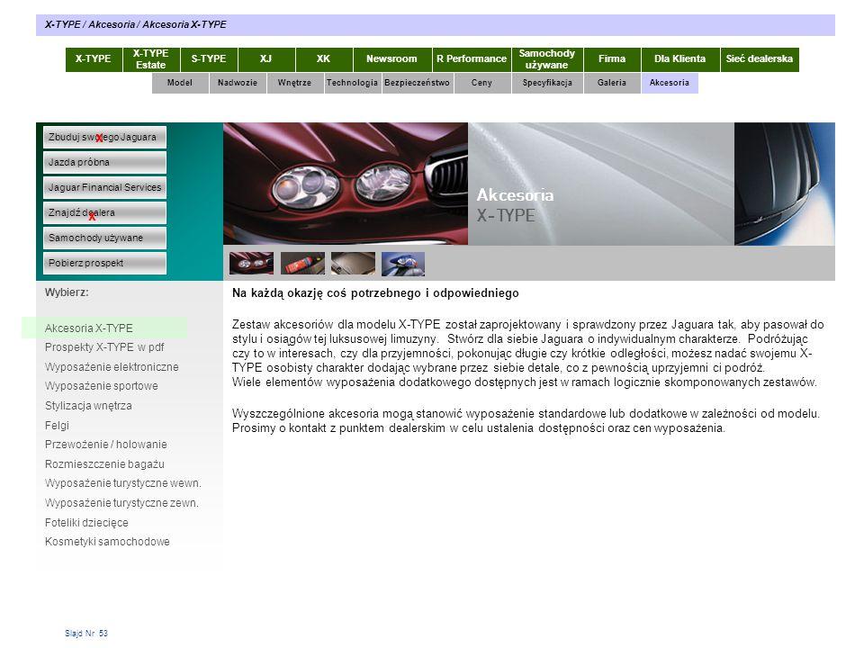 Slajd Nr 53 Na każdą okazję coś potrzebnego i odpowiedniego Zestaw akcesoriów dla modelu X-TYPE został zaprojektowany i sprawdzony przez Jaguara tak,