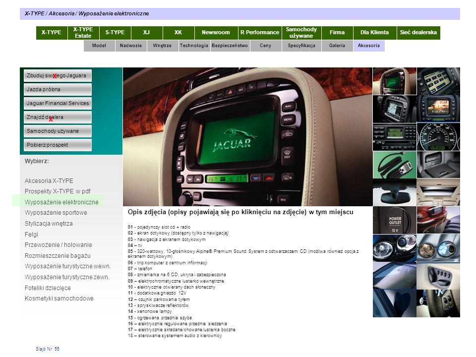 Slajd Nr 55 X-TYPE Estate S-TYPEXJXKR Performance Samochody używane Dla KlientaSieć dealerskaNewsroomFirma ModelTechnologiaBezpieczeństwoCenySpecyfika
