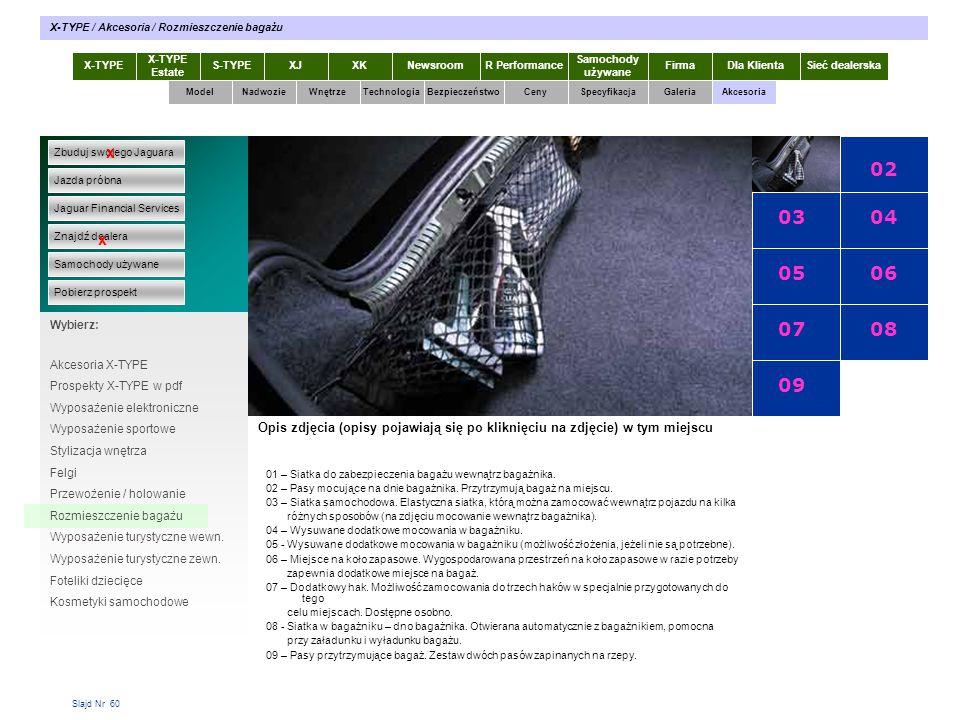 Slajd Nr 60 X-TYPE Estate S-TYPEXJXKR Performance Samochody używane Dla KlientaSieć dealerskaNewsroomFirma ModelTechnologiaBezpieczeństwoCenySpecyfika