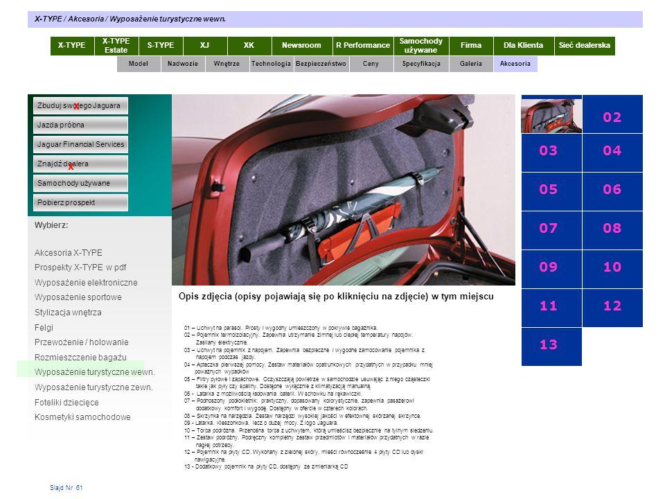Slajd Nr 61 X-TYPE Estate S-TYPEXJXKR Performance Samochody używane Dla KlientaSieć dealerskaNewsroomFirma ModelTechnologiaBezpieczeństwoCenySpecyfika