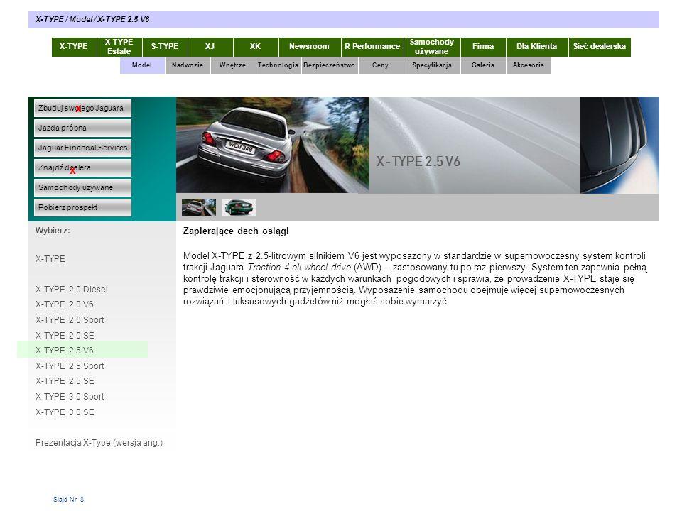 Slajd Nr 8 Zapierające dech osiągi Model X-TYPE z 2.5-litrowym silnikiem V6 jest wyposażony w standardzie w supernowoczesny system kontroli trakcji Ja