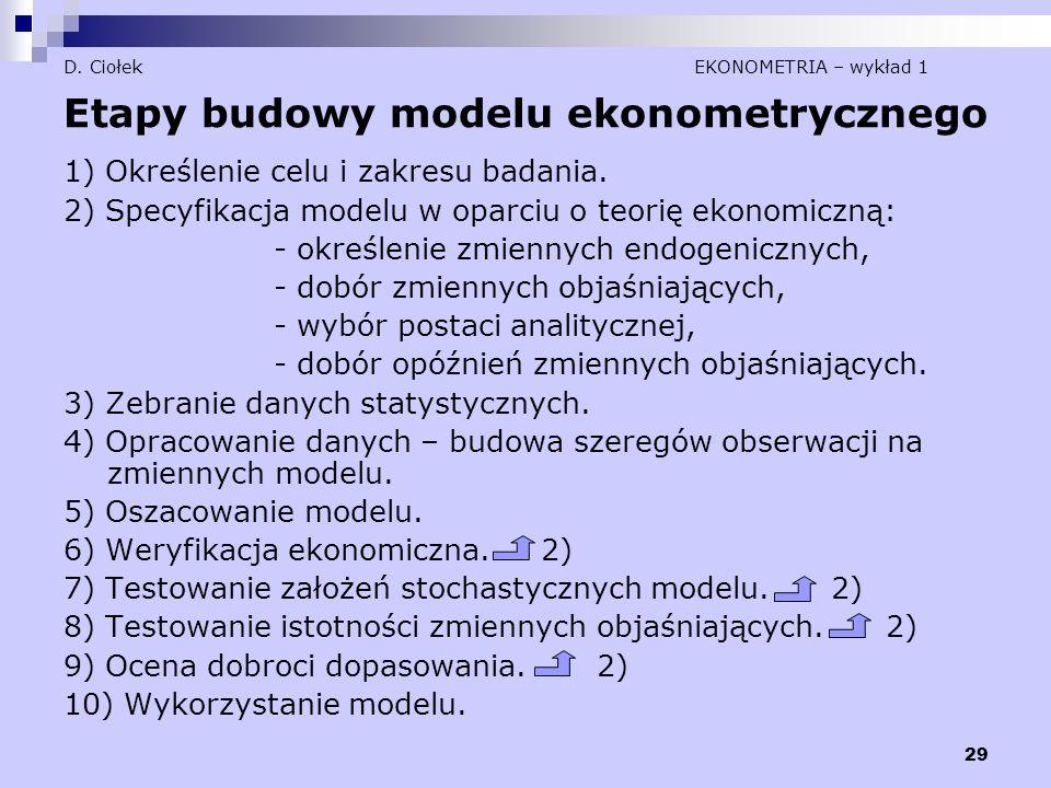 29 D. Ciołek EKONOMETRIA – wykład 1 Etapy budowy modelu ekonometrycznego 1) Określenie celu i zakresu badania. 2) Specyfikacja modelu w oparciu o teor
