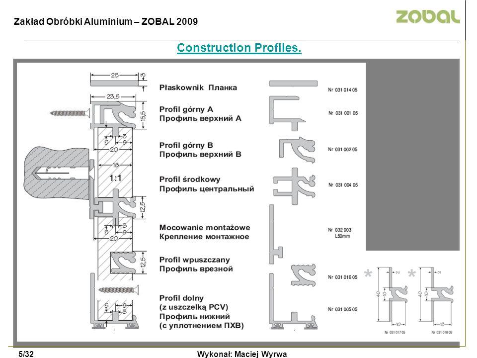 Construction Profiles. Wykonał: Maciej Wyrwa5/32 Zakład Obróbki Aluminium – ZOBAL 2009