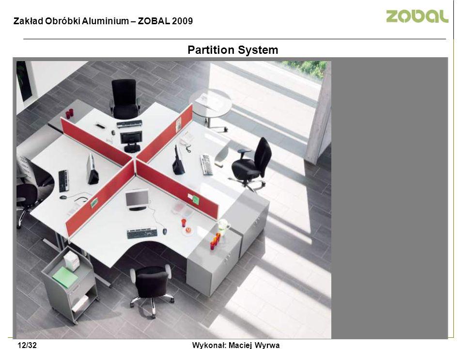 Wykonał: Maciej Wyrwa12/32 Zakład Obróbki Aluminium – ZOBAL 2009 Partition System