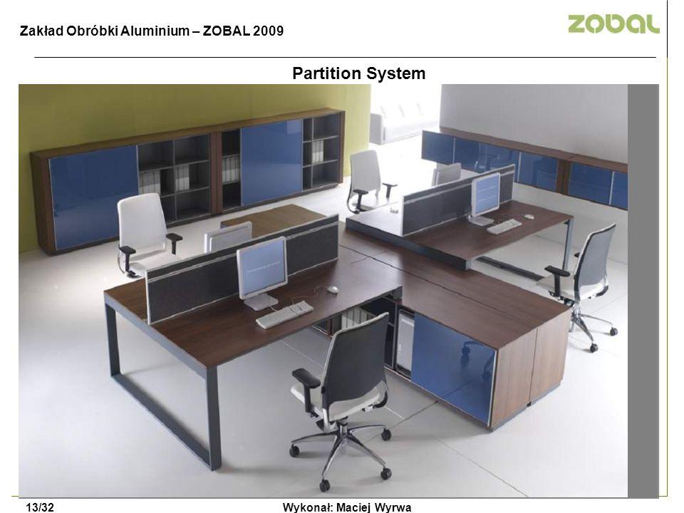 Wykonał: Maciej Wyrwa13/32 Zakład Obróbki Aluminium – ZOBAL 2009 Partition System
