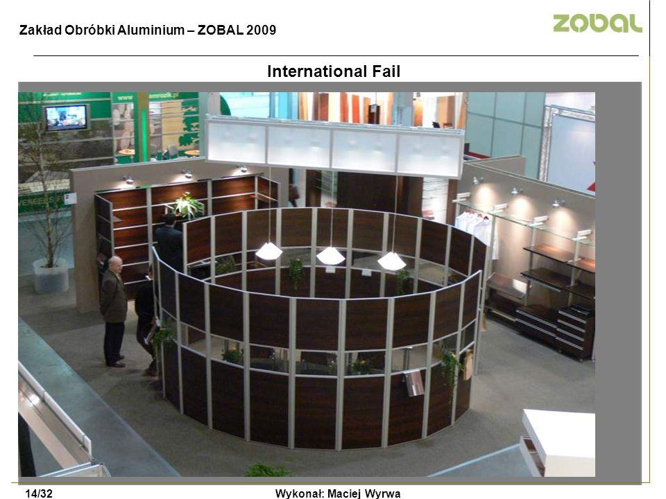 International Fail Wykonał: Maciej Wyrwa14/32 Zakład Obróbki Aluminium – ZOBAL 2009