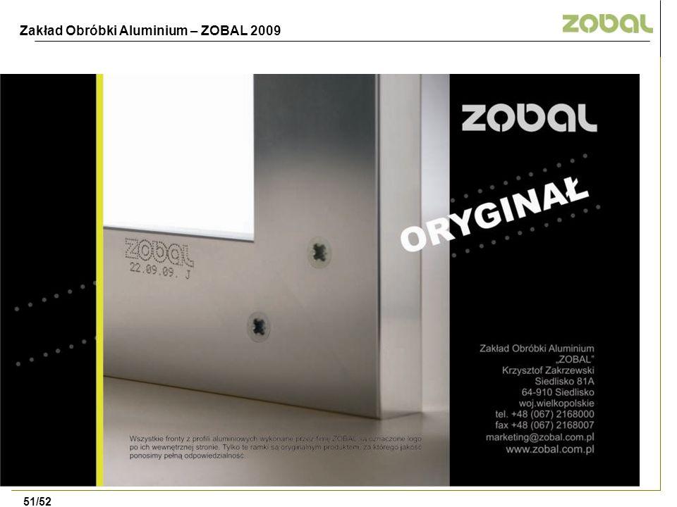 Zakład Obróbki Aluminium – ZOBAL 2009