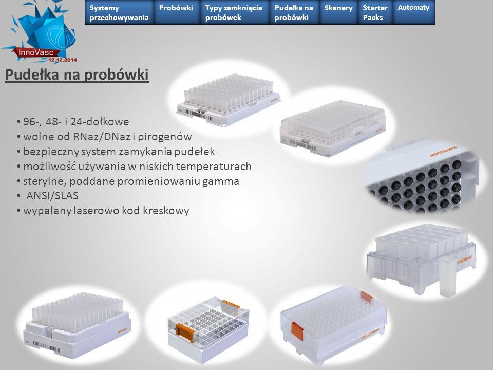Pudełka na probówki 96-, 48- i 24-dołkowe wolne od RNaz/DNaz i pirogenów bezpieczny system zamykania pudełek możliwość używania w niskich temperaturac