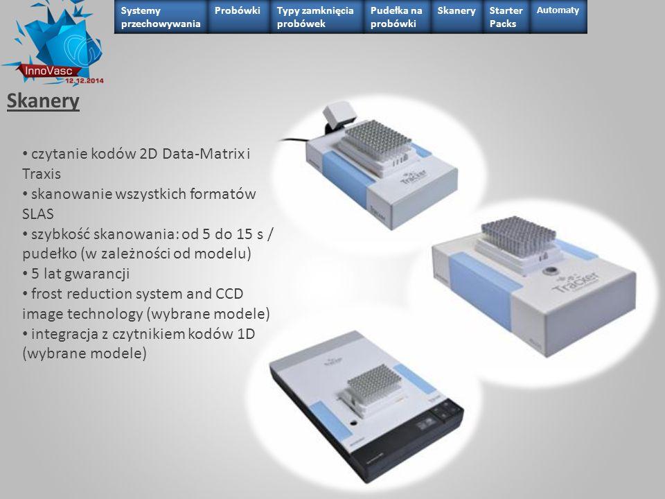 Skanery czytanie kodów 2D Data-Matrix i Traxis skanowanie wszystkich formatów SLAS szybkość skanowania: od 5 do 15 s / pudełko (w zależności od modelu