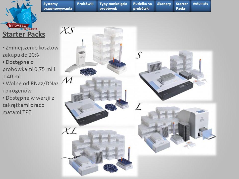 Starter Packs Zmniejszenie kosztów zakupu do 20% Dostępne z probówkami 0.75 ml i 1.40 ml Wolne od RNaz/DNaz i pirogenów Dostępne w wersji z zakrętkami
