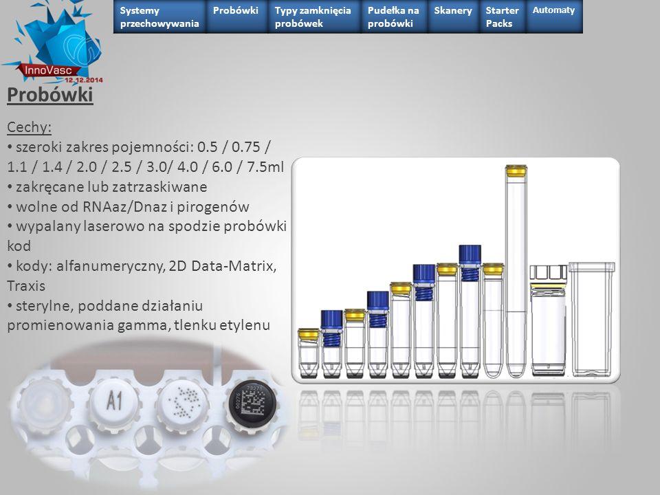Probówki 0.75 ml Cechy: pojemność netto: 0.50 lub 0.57 ml (V- kształtne)/ 0.60 ml (U-kształtne) materiał: polipropylen zakręcane lub zatrzaskiwane U- lub V-kształtne wolne od RNAaz/Dnaz i pirogenów wypalany laserowo na spodzie probówki kod kody: alfanumeryczny, 2D Data-Matrix, Traxis lub bez kodu sterylne, poddane działaniu promieniowania gamma, tlenku etylenu
