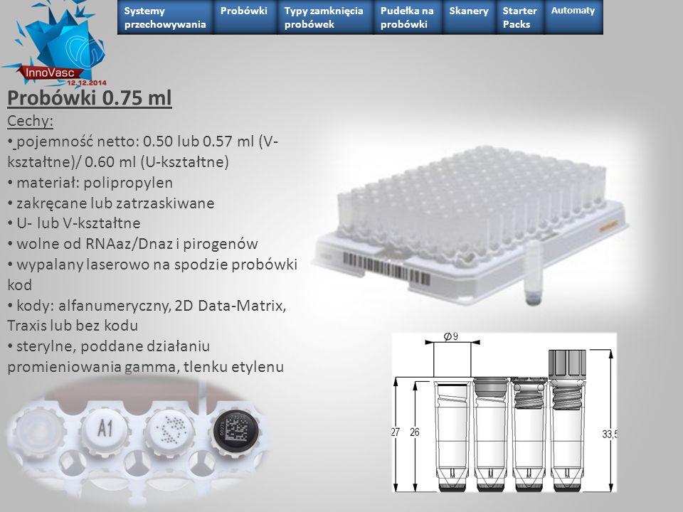 Probówki 0.75 ml Cechy: pojemność netto: 0.50 lub 0.57 ml (V- kształtne)/ 0.60 ml (U-kształtne) materiał: polipropylen zakręcane lub zatrzaskiwane U-