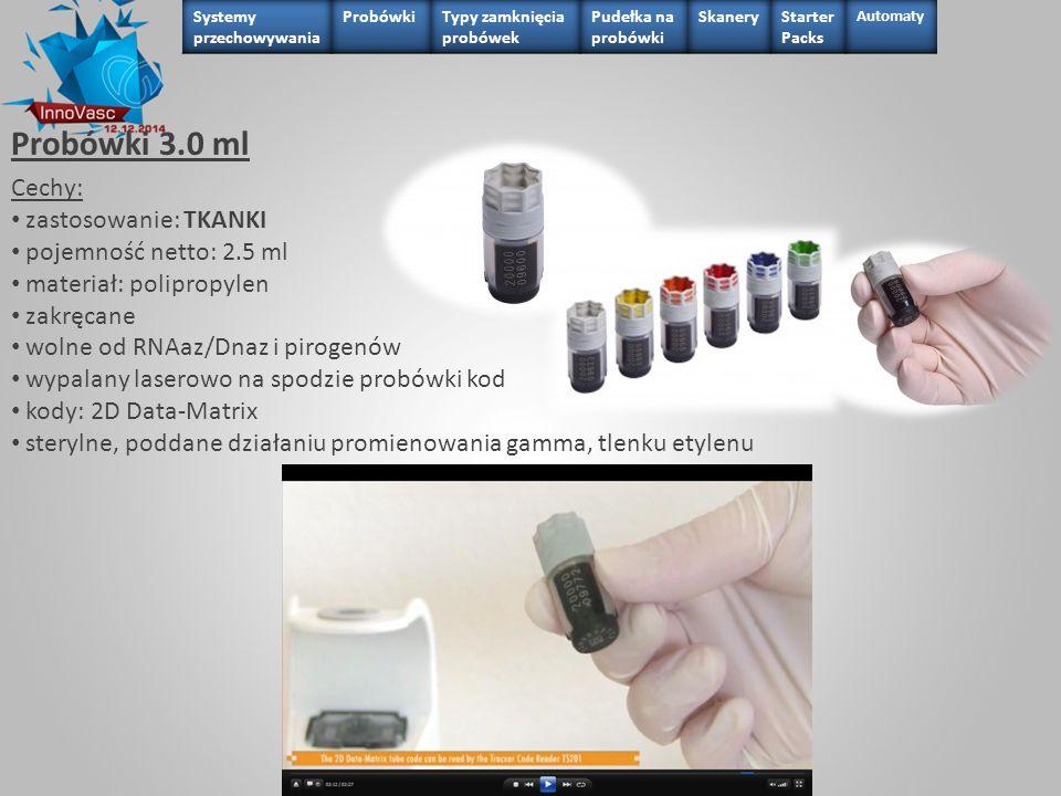 Probówki 3.0 ml Cechy: zastosowanie: TKANKI pojemność netto: 2.5 ml materiał: polipropylen zakręcane wolne od RNAaz/Dnaz i pirogenów wypalany laserowo