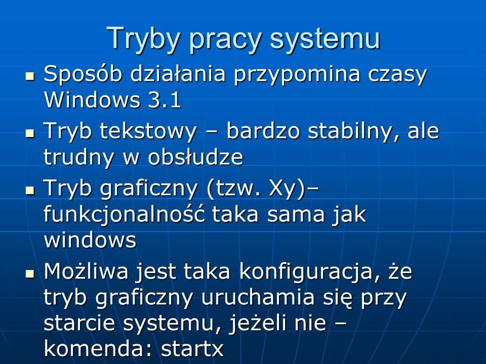 Tryby pracy systemu Sposób działania przypomina czasy Windows 3.1 Sposób działania przypomina czasy Windows 3.1 Tryb tekstowy – bardzo stabilny, ale trudny w obsłudze Tryb tekstowy – bardzo stabilny, ale trudny w obsłudze Tryb graficzny (tzw.