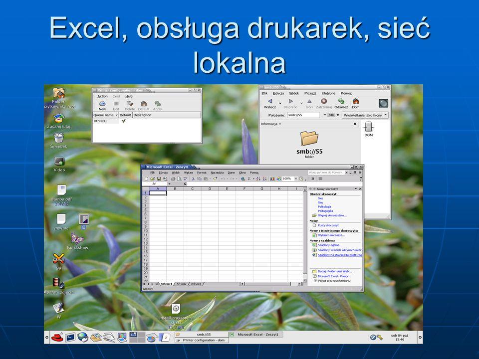 Excel, obsługa drukarek, sieć lokalna