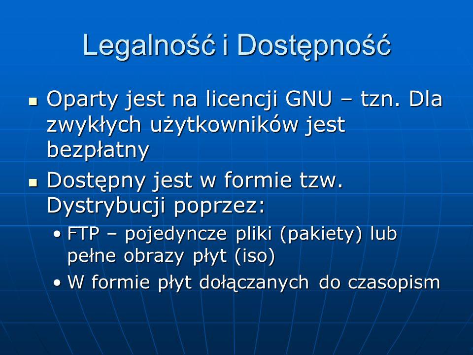 Legalność i Dostępność Oparty jest na licencji GNU – tzn.