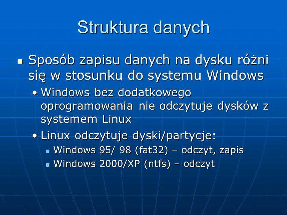 Struktura danych Sposób zapisu danych na dysku różni się w stosunku do systemu Windows Sposób zapisu danych na dysku różni się w stosunku do systemu Windows Windows bez dodatkowego oprogramowania nie odczytuje dysków z systemem LinuxWindows bez dodatkowego oprogramowania nie odczytuje dysków z systemem Linux Linux odczytuje dyski/partycje:Linux odczytuje dyski/partycje: Windows 95/ 98 (fat32) – odczyt, zapis Windows 95/ 98 (fat32) – odczyt, zapis Windows 2000/XP (ntfs) – odczyt Windows 2000/XP (ntfs) – odczyt