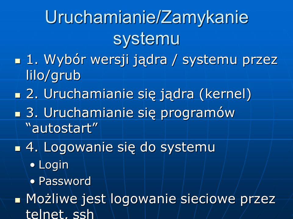 Uruchamianie/Zamykanie systemu 1.Wybór wersji jądra / systemu przez lilo/grub 1.
