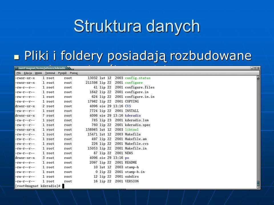 Struktura danych Pliki i foldery posiadają rozbudowane atrybuty określające ich typ oraz prawa dostępu.