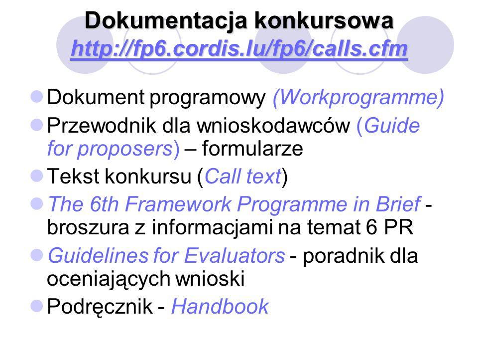 Dokumentacja konkursowa http://fp6.cordis.lu/fp6/calls.cfm http://fp6.cordis.lu/fp6/calls.cfm Dokument programowy (Workprogramme) Przewodnik dla wnioskodawców (Guide for proposers) – formularze Tekst konkursu (Call text) The 6th Framework Programme in Brief - broszura z informacjami na temat 6 PR Guidelines for Evaluators - poradnik dla oceniających wnioski Podręcznik - Handbook