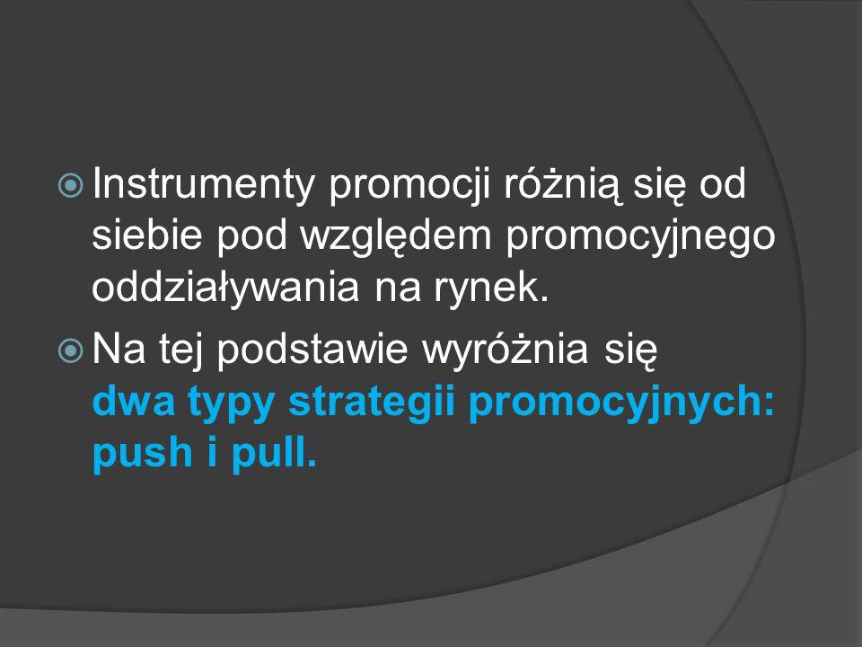  Wybór strategii promocji polega na określeniu narzędzi promocji oraz sposobu, czasu i obszaru ich stosowania.