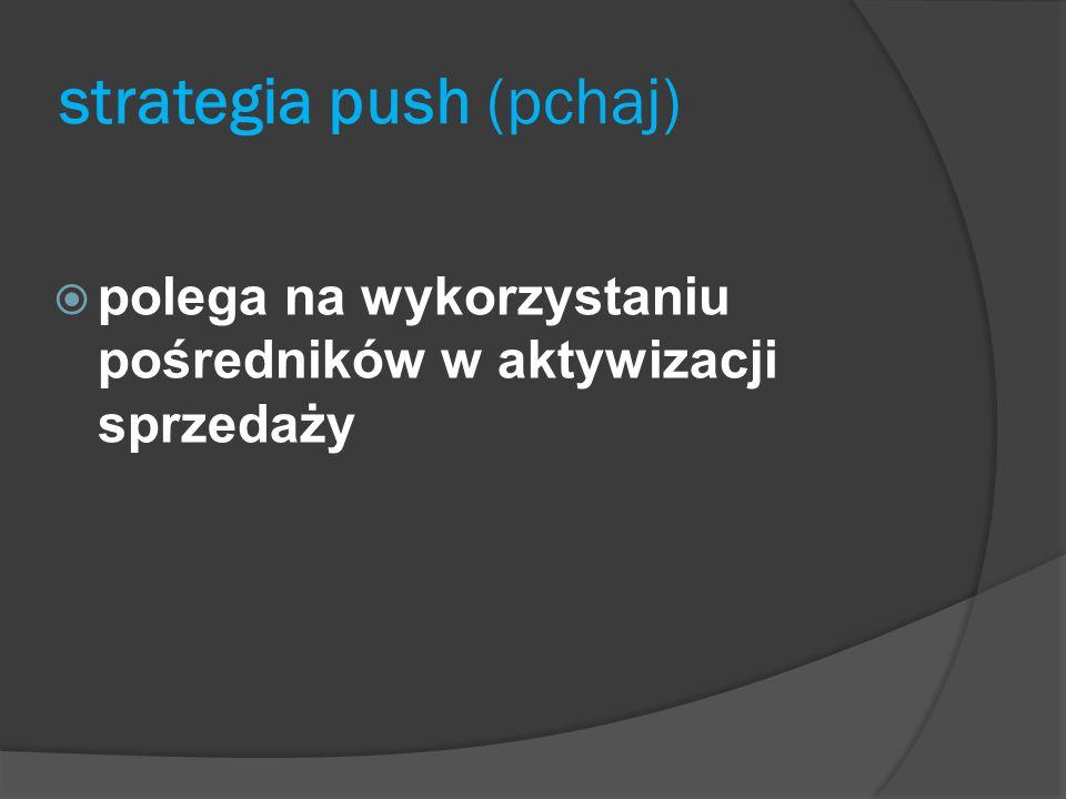 strategia push (pchaj)  polega na wykorzystaniu pośredników w aktywizacji sprzedaży
