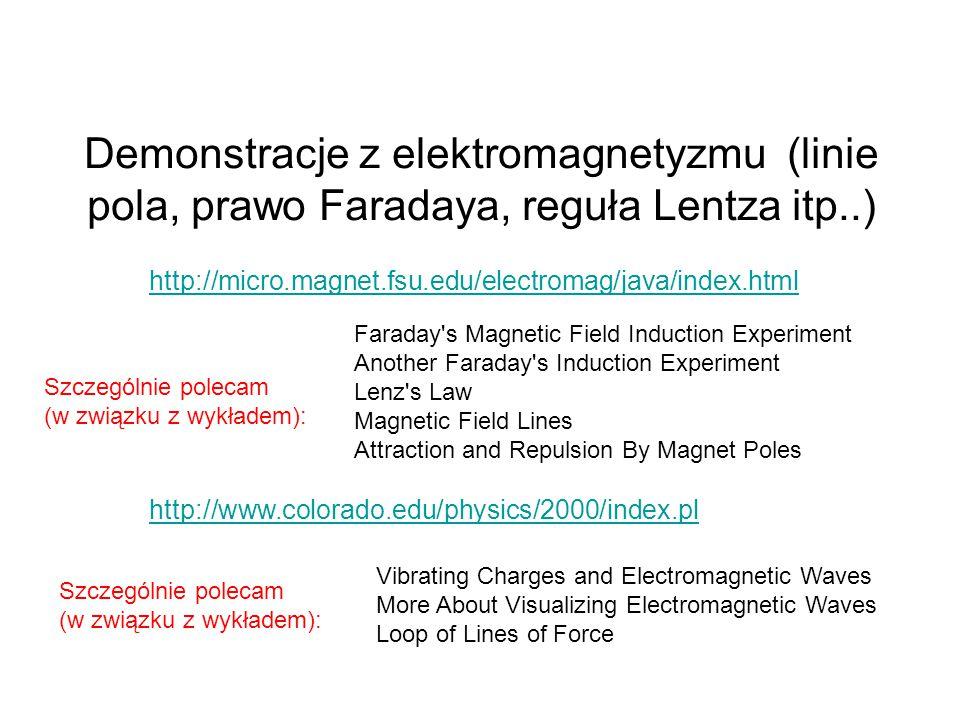 Demonstracje z elektromagnetyzmu (linie pola, prawo Faradaya, reguła Lentza itp..) http://micro.magnet.fsu.edu/electromag/java/index.html Faraday's Ma