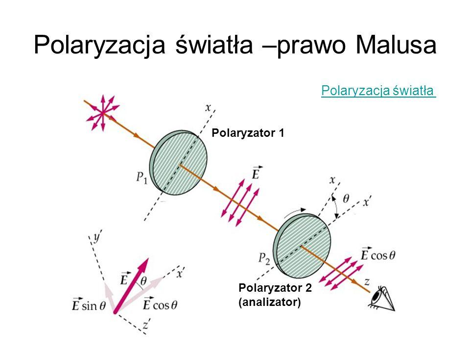 Polaryzacja światła –prawo Malusa Polaryzator 1 Polaryzator 2 (analizator) Polaryzacja światła