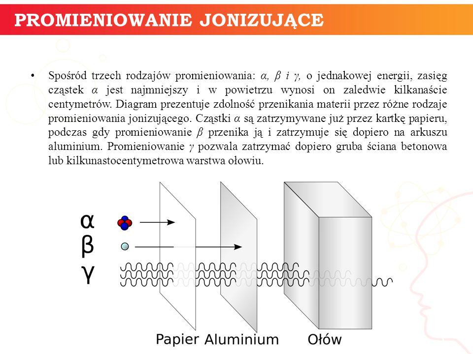 Spośród trzech rodzajów promieniowania: α, β i γ, o jednakowej energii, zasięg cząstek α jest najmniejszy i w powietrzu wynosi on zaledwie kilkanaście