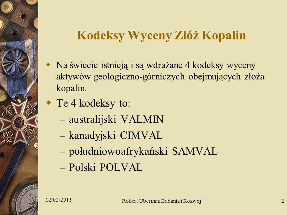 Kodeksy Wyceny Złóż Kopalin  Na świecie istnieją i są wdrażane 4 kodeksy wyceny aktywów geologiczno-górniczych obejmujących złoża kopalin.
