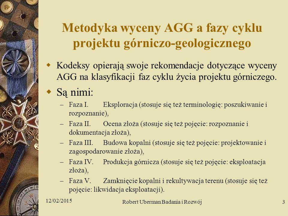 Metodyka wyceny AGG a fazy cyklu projektu górniczo-geologicznego  Kodeksy opierają swoje rekomendacje dotyczące wyceny AGG na klasyfikacji faz cyklu życia projektu górniczego.