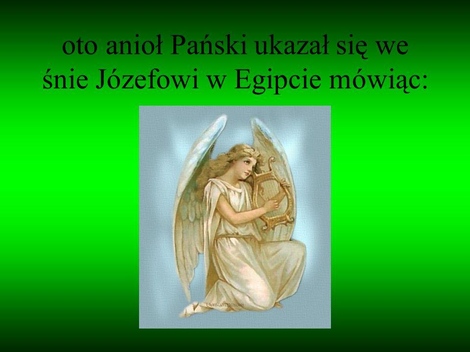 oto anioł Pański ukazał się we śnie Józefowi w Egipcie mówiąc: