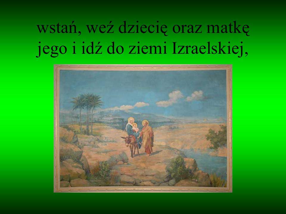 wstań, weź dziecię oraz matkę jego i idź do ziemi Izraelskiej,