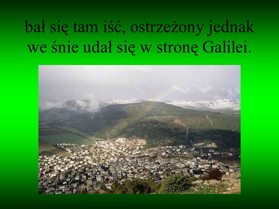 bał się tam iść, ostrzeżony jednak we śnie udał się w stronę Galilei.