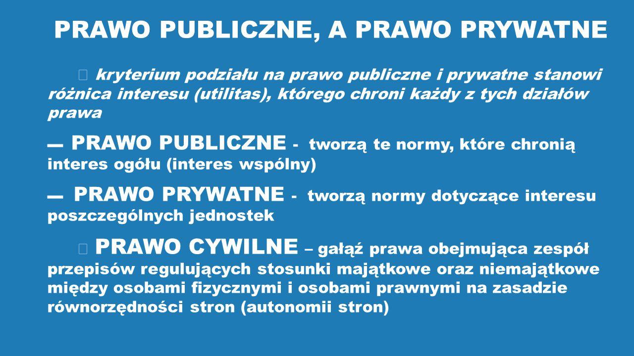 PRAWO PUBLICZNE, A PRAWO PRYWATNE  kryterium podziału na prawo publiczne i prywatne stanowi różnica interesu (utilitas), którego chroni każdy z tych