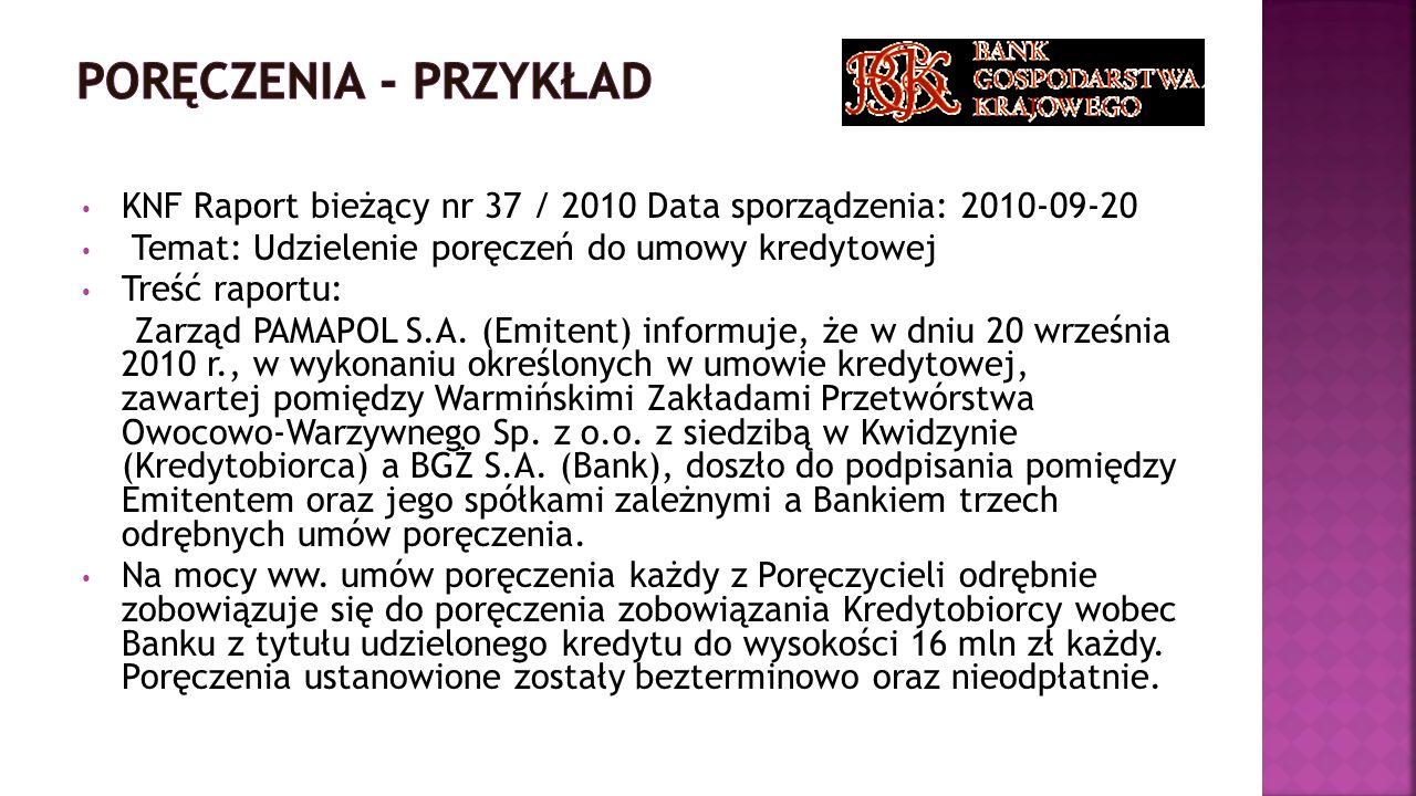KNF Raport bieżący nr 37 / 2010 Data sporządzenia: 2010-09-20 Temat: Udzielenie poręczeń do umowy kredytowej Treść raportu: Zarząd PAMAPOL S.A. (Emite