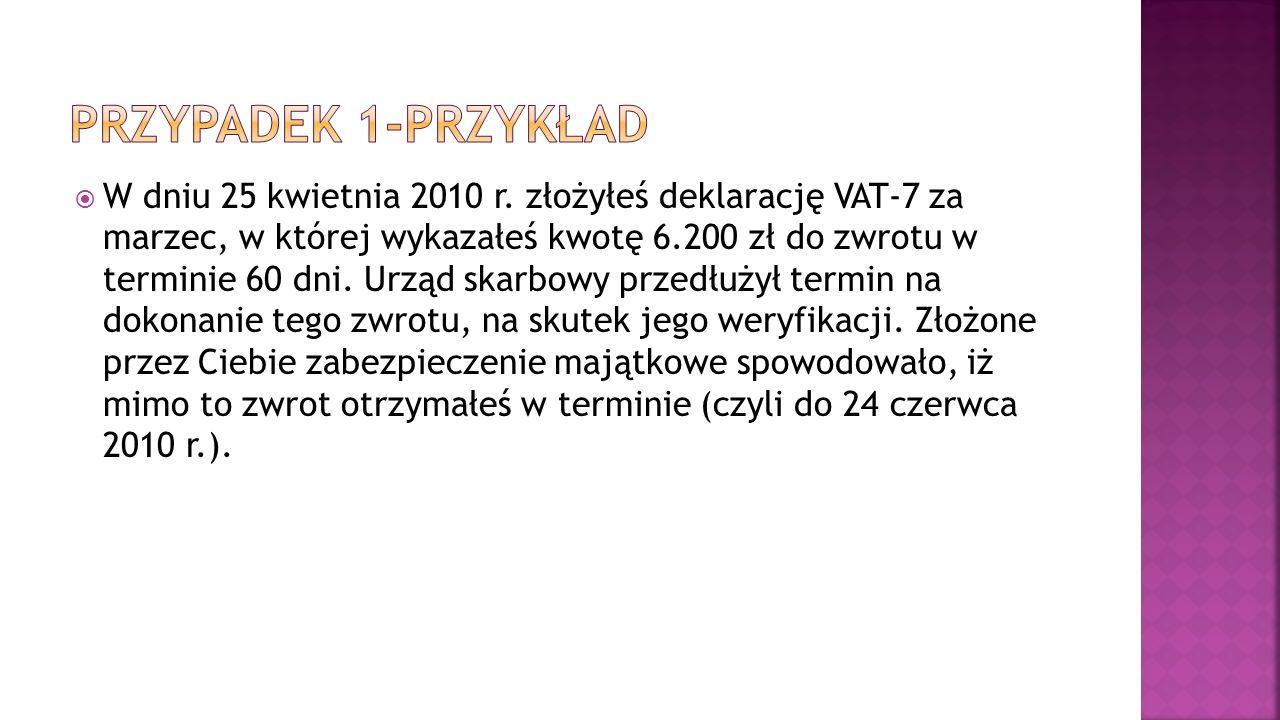  W dniu 25 kwietnia 2010 r. złożyłeś deklarację VAT-7 za marzec, w której wykazałeś kwotę 6.200 zł do zwrotu w terminie 60 dni. Urząd skarbowy przedł