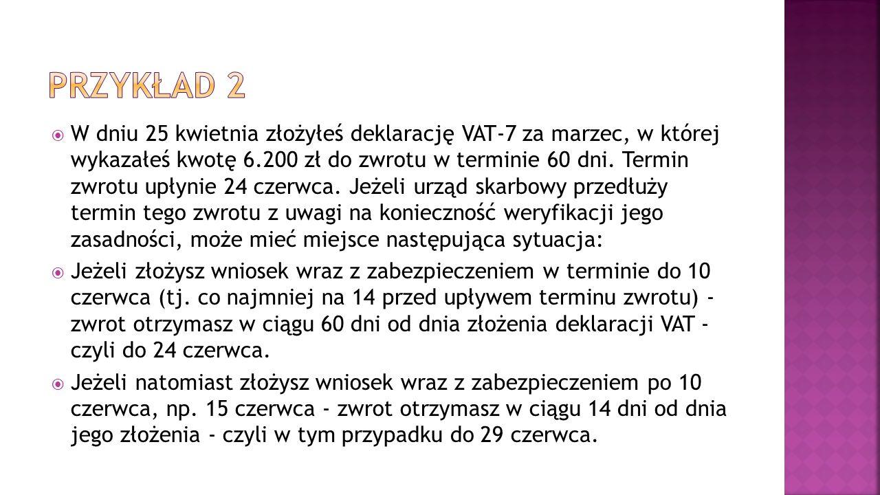  W dniu 25 kwietnia złożyłeś deklarację VAT-7 za marzec, w której wykazałeś kwotę 6.200 zł do zwrotu w terminie 60 dni. Termin zwrotu upłynie 24 czer