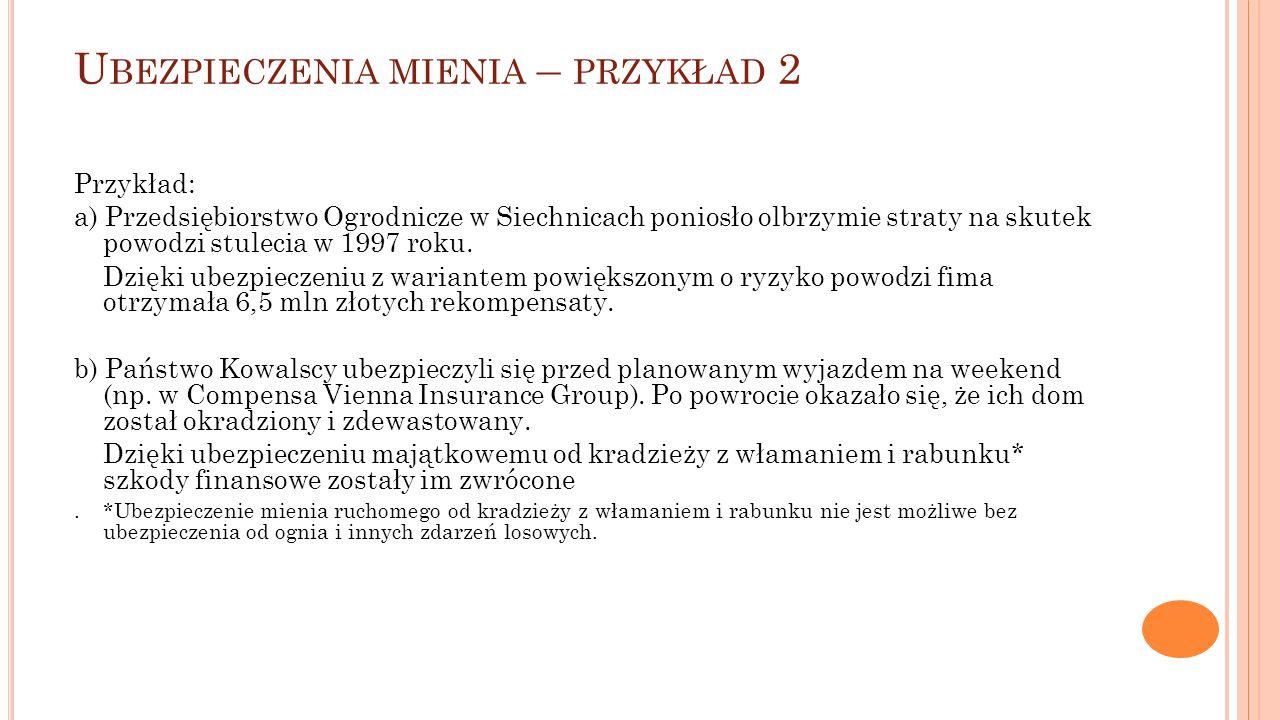 U BEZPIECZENIA MIENIA – PRZYKŁAD 2 Przykład: a) Przedsiębiorstwo Ogrodnicze w Siechnicach poniosło olbrzymie straty na skutek powodzi stulecia w 1997