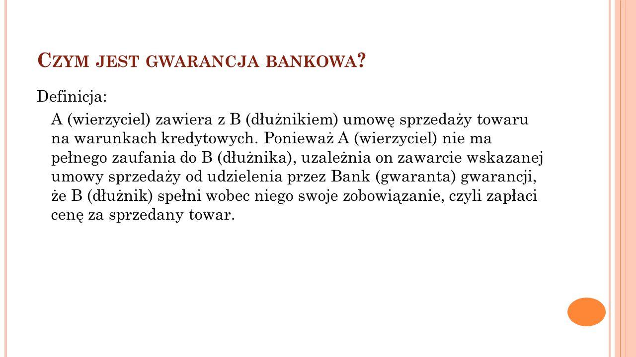C ZYM JEST GWARANCJA BANKOWA ? Definicja: A (wierzyciel) zawiera z B (dłużnikiem) umowę sprzedaży towaru na warunkach kredytowych. Ponieważ A (wierzyc