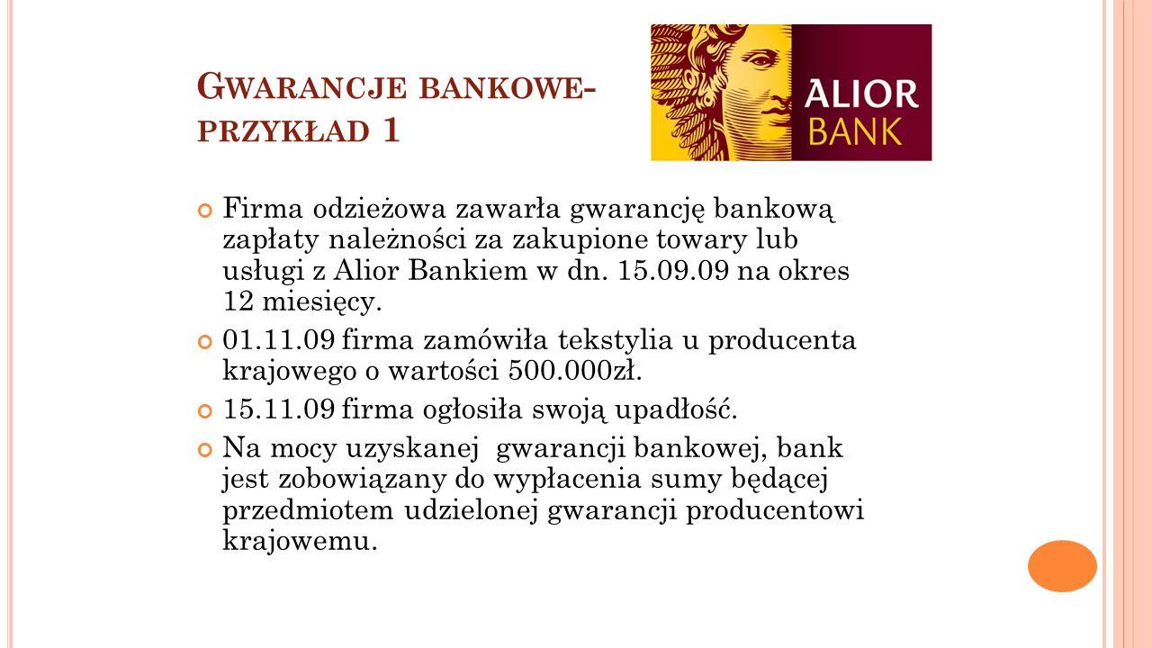 G WARANCJE BANKOWE - PRZYKŁAD 1 Firma odzieżowa zawarła gwarancję bankową zapłaty należności za zakupione towary lub usługi z Alior Bankiem w dn. 15.0
