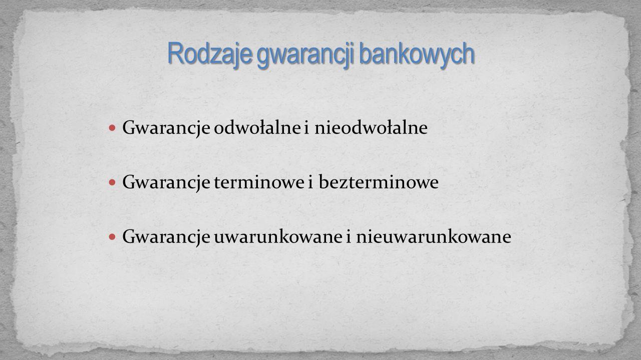 Gwarancje odwołalne i nieodwołalne Gwarancje terminowe i bezterminowe Gwarancje uwarunkowane i nieuwarunkowane