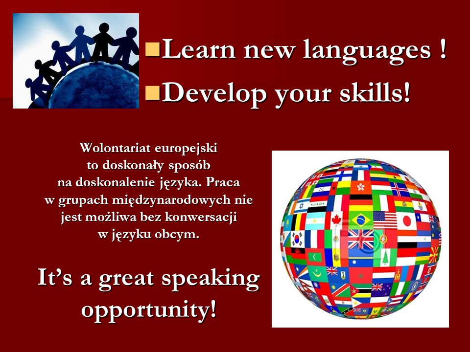 Learn new languages . Learn new languages . Develop your skills.