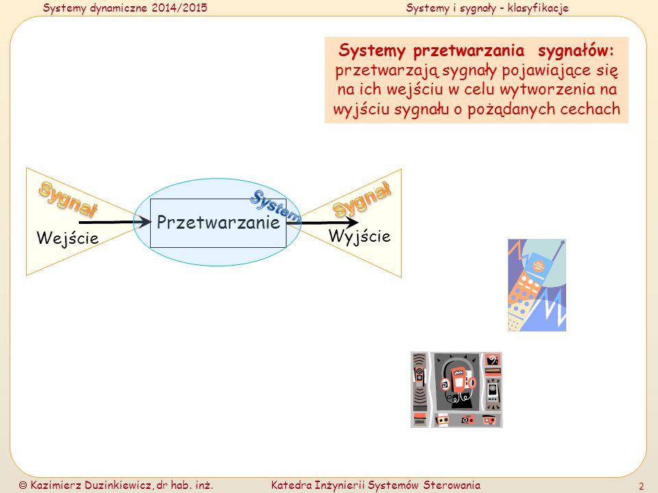 Systemy dynamiczne 2014/2015Systemy i sygnały - klasyfikacje  Kazimierz Duzinkiewicz, dr hab. inż.Katedra Inżynierii Systemów Sterowania 2 Przetwarza