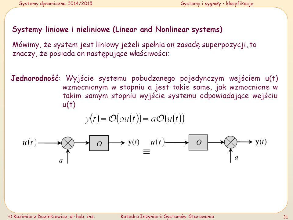 Systemy dynamiczne 2014/2015Systemy i sygnały - klasyfikacje  Kazimierz Duzinkiewicz, dr hab. inż.Katedra Inżynierii Systemów Sterowania 31 Systemy l