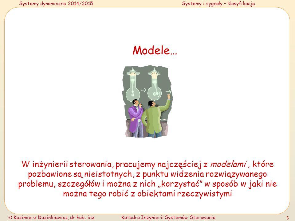 Systemy dynamiczne 2014/2015Systemy i sygnały - klasyfikacje  Kazimierz Duzinkiewicz, dr hab. inż.Katedra Inżynierii Systemów Sterowania 5 Modele… W
