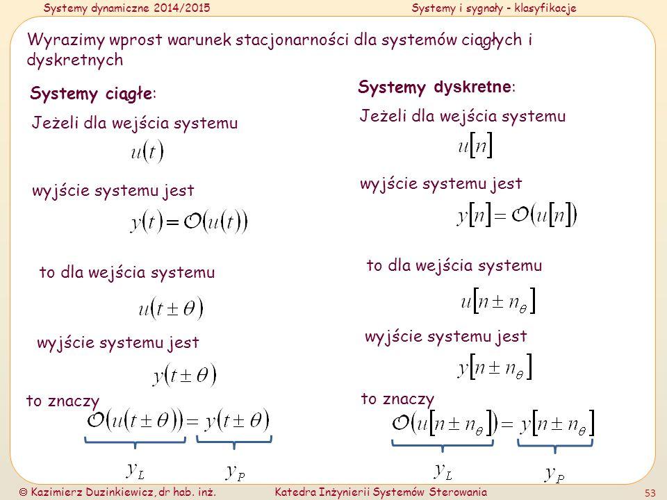 Systemy dynamiczne 2014/2015Systemy i sygnały - klasyfikacje  Kazimierz Duzinkiewicz, dr hab. inż.Katedra Inżynierii Systemów Sterowania 53 Wyrazimy