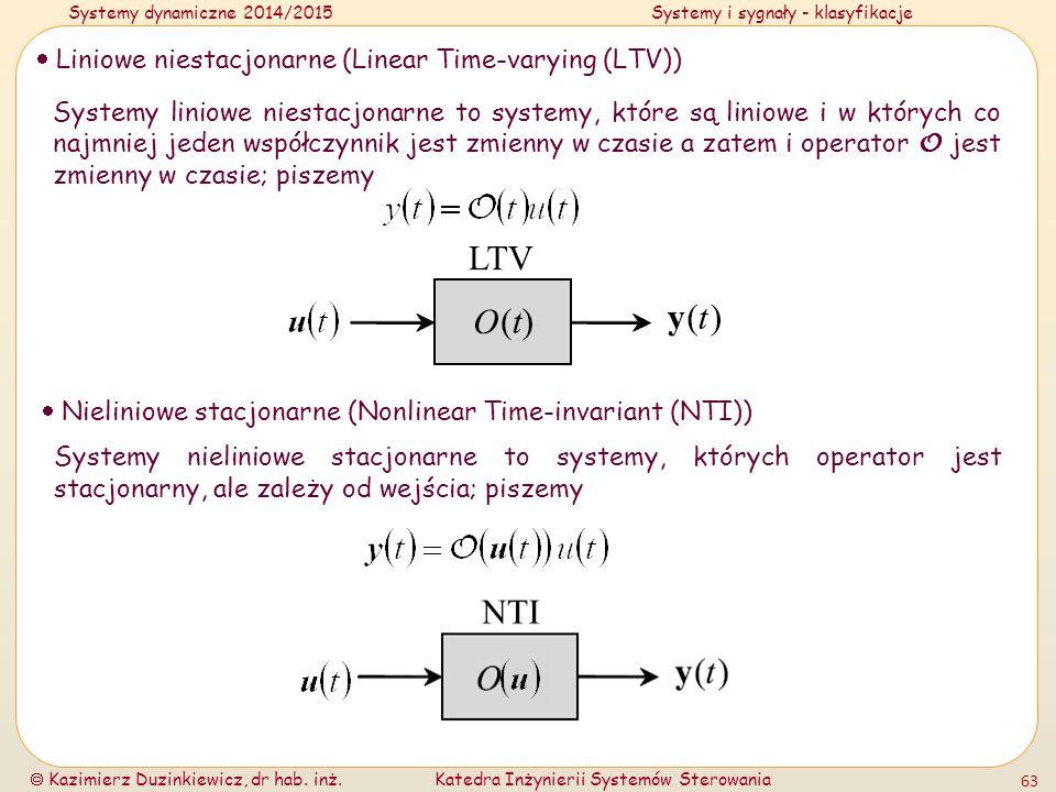 Systemy dynamiczne 2014/2015Systemy i sygnały - klasyfikacje  Kazimierz Duzinkiewicz, dr hab. inż.Katedra Inżynierii Systemów Sterowania 63  Liniowe
