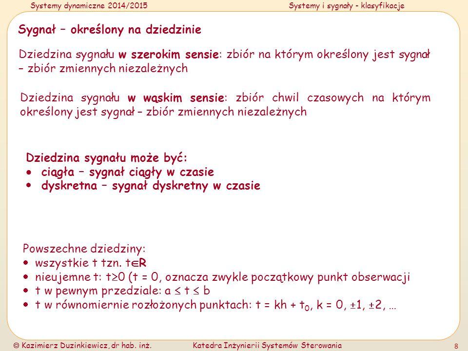 Systemy dynamiczne 2014/2015Systemy i sygnały - klasyfikacje  Kazimierz Duzinkiewicz, dr hab.