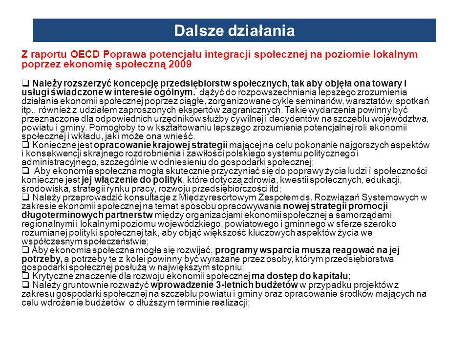 Z raportu OECD Poprawa potencjału integracji społecznej na poziomie lokalnym poprzez ekonomię społeczną 2009  Należy rozszerzyć koncepcję przedsiębio